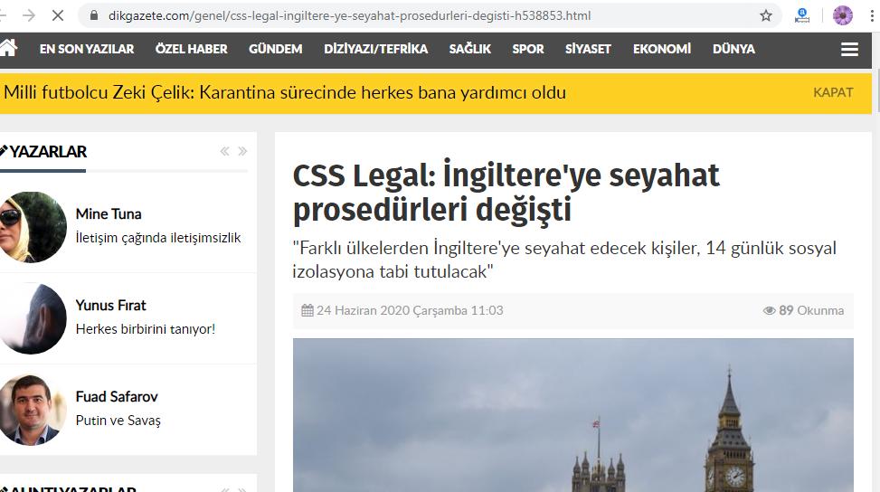 CSS Legal: İngiltere ye Seyahat Prosedürleri Değişti