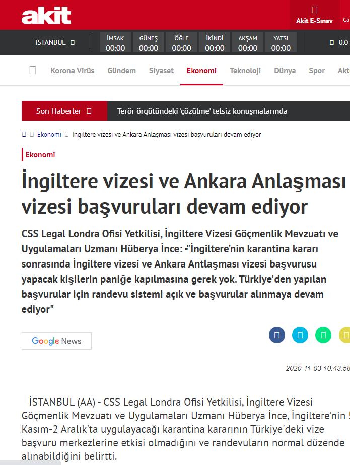 İngiltere vizesi ve Ankara Anlaşması vizesi başvuruları devam ediyor