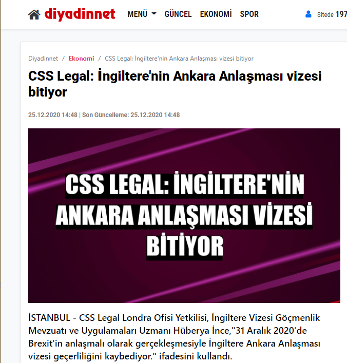 CSS Legal: İngiltere nin Ankara Anlaşması Vizesi Bitiyor
